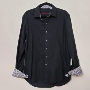 Robert Graham Black & White Cuff Button Up Shirt L